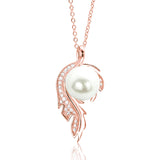 Rose Gold Over 925 Silver CZ Fashion Pearl Necklace - Jewelry - Prjewel.com - 1