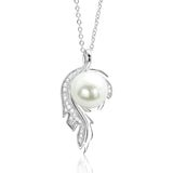 Sterling Silver CZ Fashion Pearl Pendant Necklace - Jewelry - Prjewel.com - 1