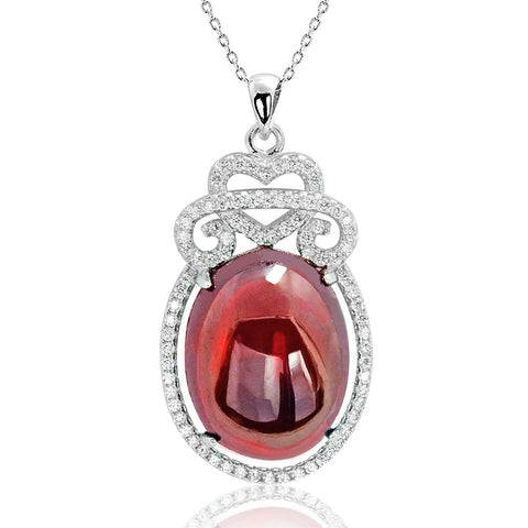 Precious Red Crystal CZ Silver Pendant Necklace