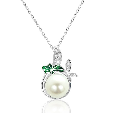 Exquisite Cubic Zirconia 925 Sterling Silver Pearl Necklace