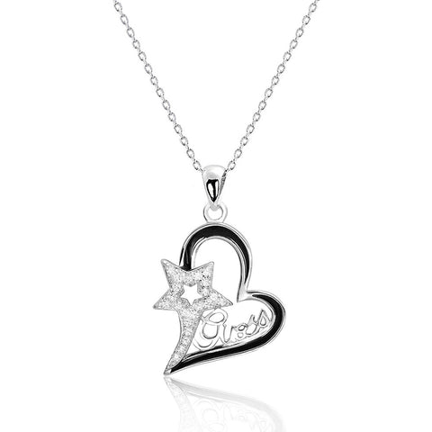 Beautiful Star and Heart Guess Cz Pendant Necklace - Jewelry - Prjewel.com - 1