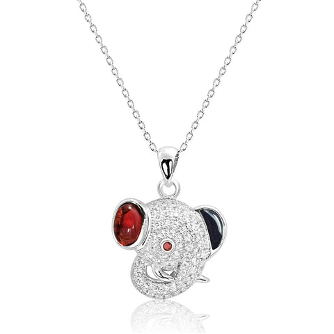 Red Crystal and CZ Elephant Pendant Necklace