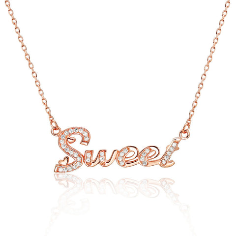 Beautiful Sweet Rose Gold Over 925 Sterling Silver CZ Necklace - Jewelry - Prjewel.com - 1