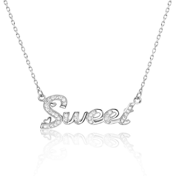 Beautiful Sweet 925 Sterling Silver CZ Necklace - Jewelry - Prjewel.com - 1