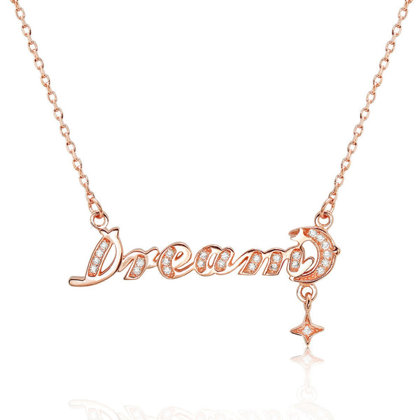 Beautiful Dream CZ Rose Gold Plated 925 Sterling Silver Necklace - Jewelry - Prjewel.com - 1