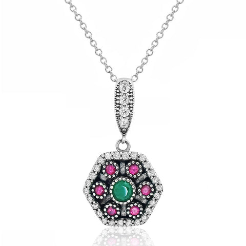 Magnificent 925 Sterling Silver Cubic Zirconia Multi Color Crystal Necklace - Jewelry - Prjewel.com - 1