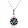 Magnificent 925 Sterling Silver Cubic Zirconia Multi Color Crystal Necklace