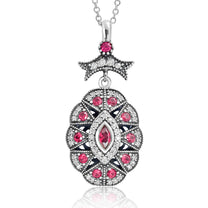 CZ Red Crystal Vintage Silver Necklace - Jewelry - Prjewel.com - 1