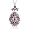 CZ Red Crystal Vintage Silver Necklace