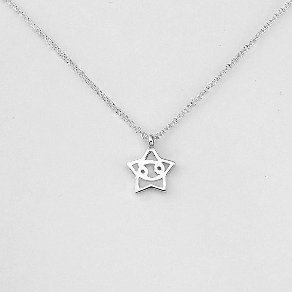 Silver Star Cancer Necklace - 21/6 to 22/7