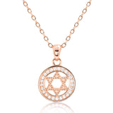 Beautiful Rose Gold Plated 925 Silver CZ Star of David Pendant Necklace - Jewelry - Prjewel.com - 1