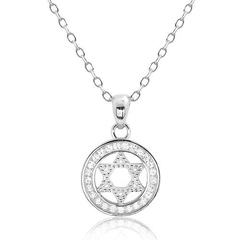 Beautiful 925 Sterling Silver CZ Star of David Pendant Necklace - Jewelry - Prjewel.com - 1