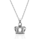 "Vintage 925 Sterling Silver Crown Pendant Necklace 16""+2"" - Jewelry - Prjewel.com - 1"