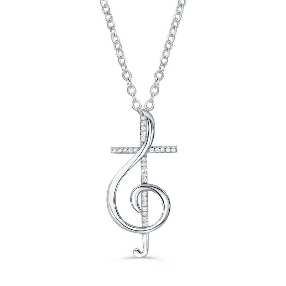 Beautiful 925 Silver Treble Clef Cross Necklace