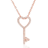 Beautiful Rose Gold Plated Sterling Silver CZ Heart Key Necklace - Jewelry - Prjewel.com - 1