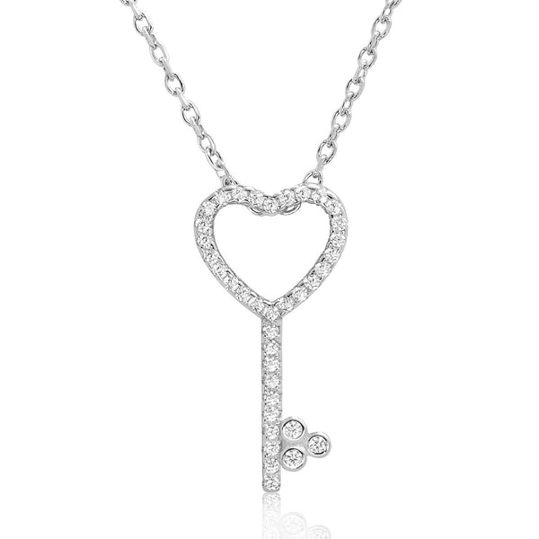 Beautiful Sterling Silver Cubic Zirconia Heart Key Necklace - Jewelry - Prjewel.com - 1