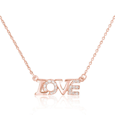 Beautiful Love Rose Gold Plated 925 Sterling Silver CZ Necklace - Jewelry - Prjewel.com - 1