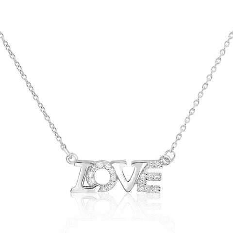 Beautiful Love 925 Sterling Silver Cubic Zirconia Necklace - Jewelry - Prjewel.com - 1