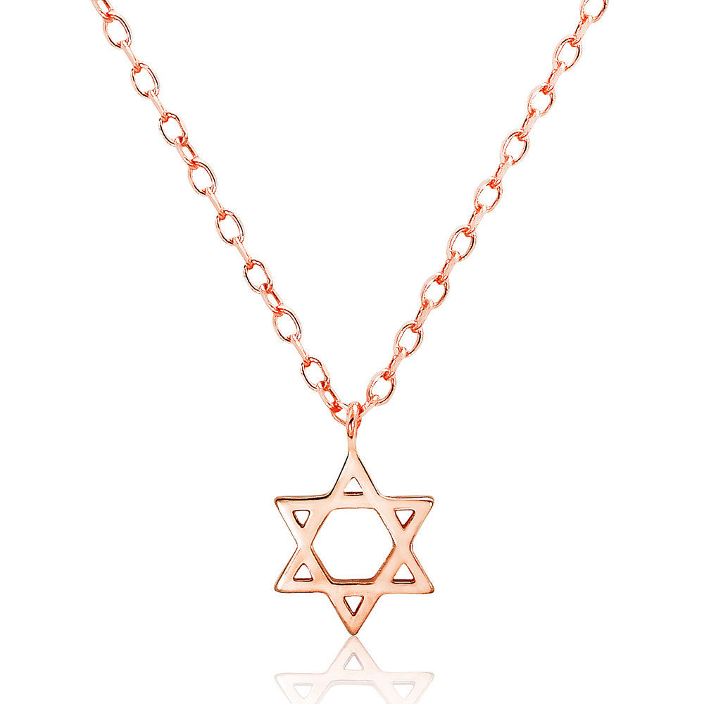 Rose Gold Plated Sterling Silver Star of David Necklace - Jewelry - Prjewel.com - 1