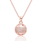 Fancy Rose Gold Over 925 Sterling Silver CZ Ball Pendant Necklace - Jewelry - Prjewel.com - 1