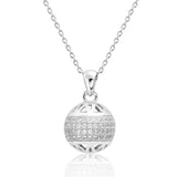 Fancy 925 Sterling Silver Cubic Zirconia Ball Pendant Necklace - Jewelry - Prjewel.com - 1
