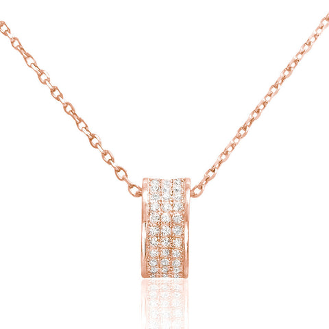 Beautiful Rose Gold Plated 925 Sterling Silver CZ Elegant Necklace - Jewelry - Prjewel.com - 1