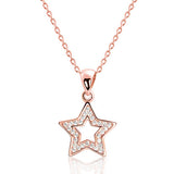 Rose Gold Plated Sterling Silver CZ Shining Star Necklace
