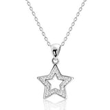 Sterling Silver CZ Shining Star Necklace - Jewelry - Prjewel.com - 1