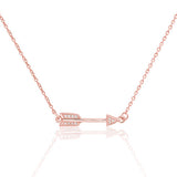 Rose Gold over Sterling Silver CZ Classic Love Arrow Necklace - Jewelry - Prjewel.com - 1