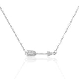Sterling Silver CZ Classic Love Arrow Necklace - Jewelry - Prjewel.com - 1
