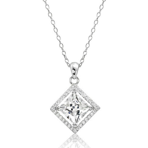 Sterling Silver CZ Princess Cut Pendant Necklace - Jewelry - Prjewel.com - 1