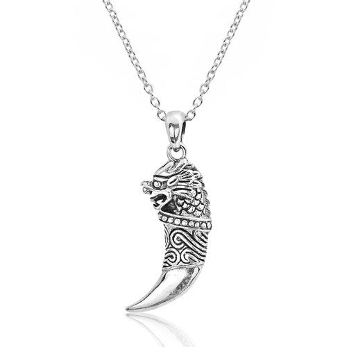 Sterling Silver Dragon Pendant Necklace - Jewelry - Prjewel.com - 1