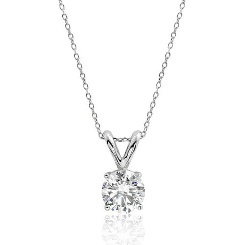 Sterling Silver 10 mm Cubic Zirconia Solitaire Necklace - Jewelry - Prjewel.com - 1