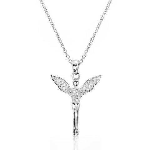 Sterling Silver CZ Unique Angel Pendant Necklace - Jewelry - Prjewel.com - 1