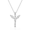 Sterling Silver CZ Unique Angel Pendant Necklace