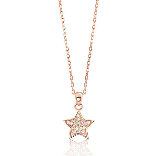 Rose Gold Plated Sterling Silver CZ Sparkling Star Necklace - Jewelry - Prjewel.com - 1