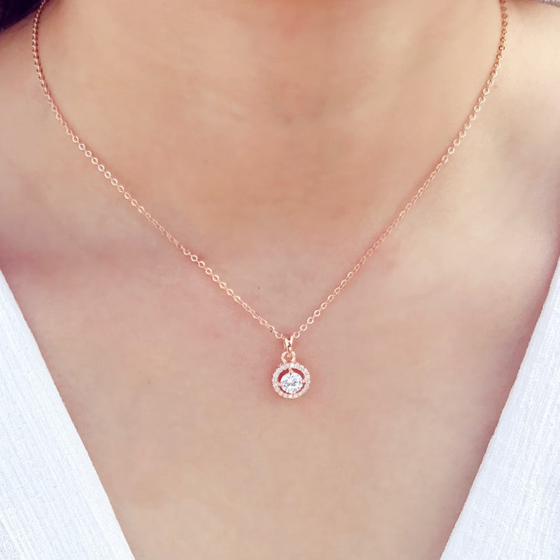 Rose Gold Plated Sterling Silver CZ Halo Pendant Necklace 3