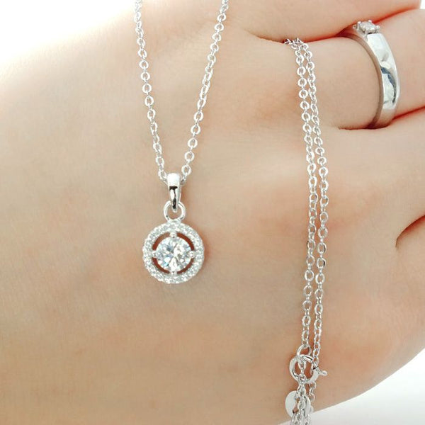 CZ Sterling Silver Halo Pendant Necklace