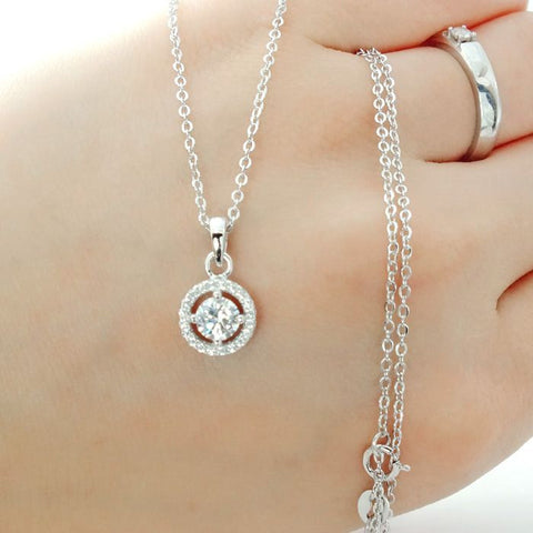 Brilliant Cut CZ Sterling Silver Halo Pendant Necklace