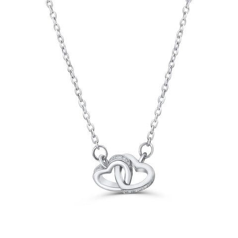 Sterling Silver Cubic Zirconia Double Hearts Necklace