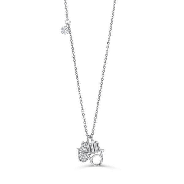 Cubic Zirconia Sterling Silver Hamsa Necklace