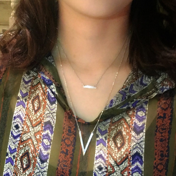 High Polished Bar and V Shape Double Layer Necklace B
