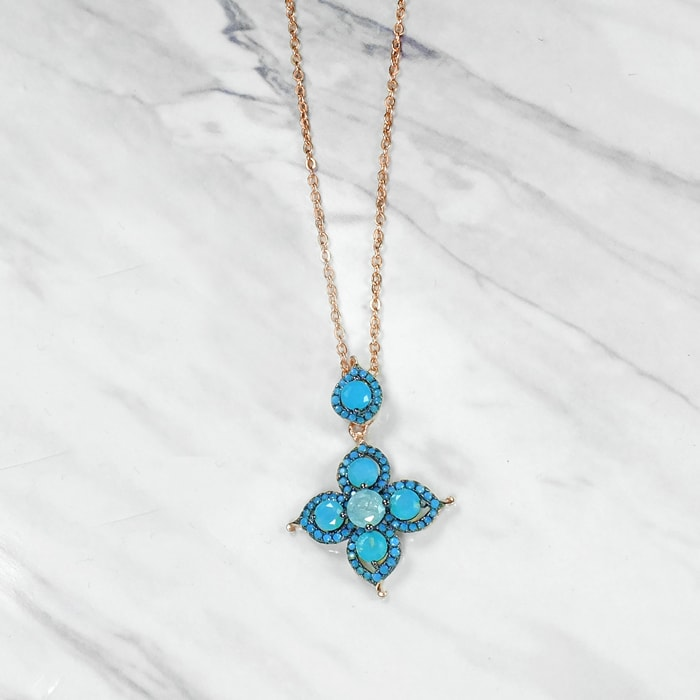 Natural turquoise and blue quartz pendant necklace aloadofball Gallery