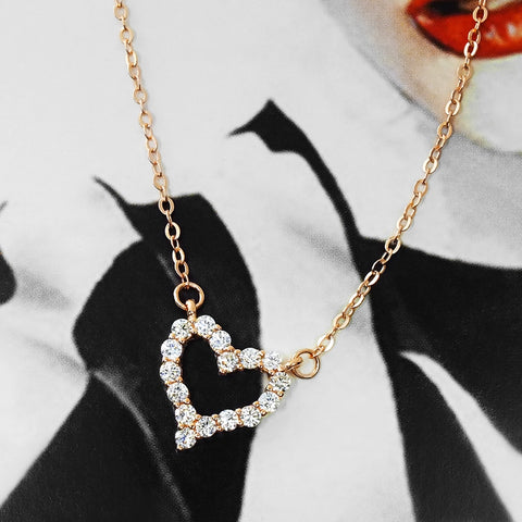 Rose Gold Plated Silver CZ Heart Necklace