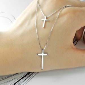 High Polished Double Layer Cross Necklace