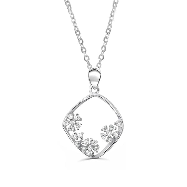 Sterling Silver Hollow Flower Pendant Necklace