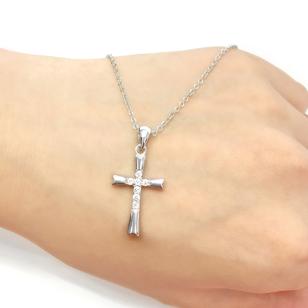 Sterling Silver CZ Cross Pendant Necklace 2