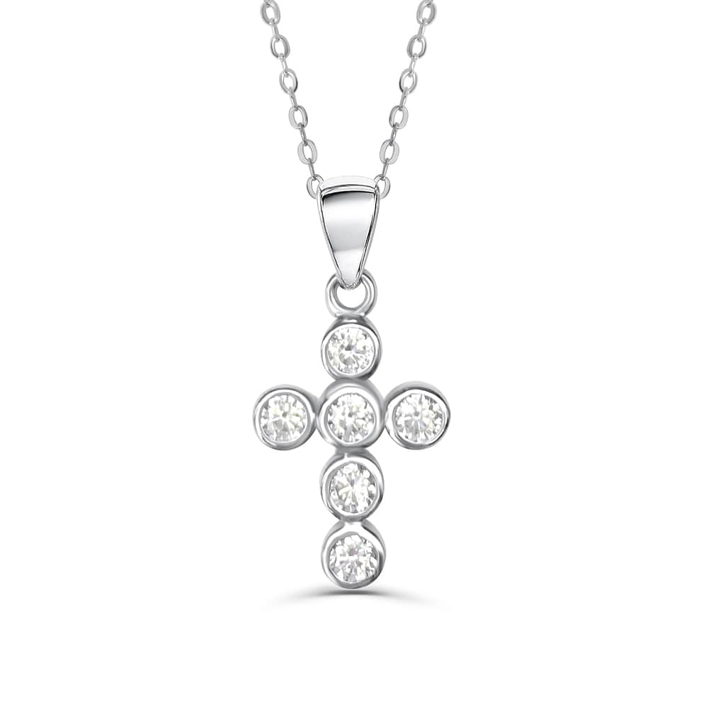 Sterling Silver Round CZ Cross Religious Necklace 2
