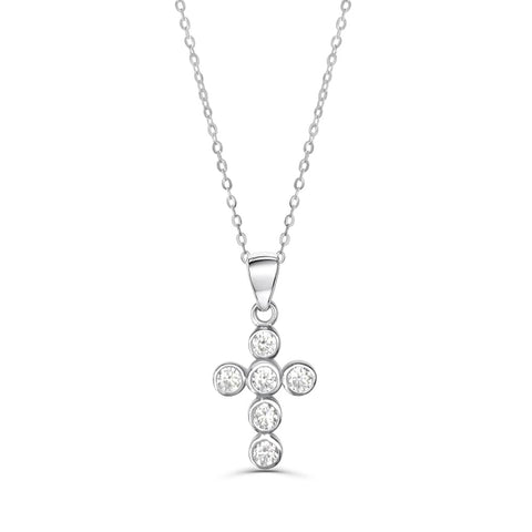 Sterling Silver Round CZ Cross Religious Necklace