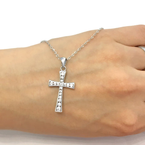 Sterling Silver Elegant Cross Pendant Necklace